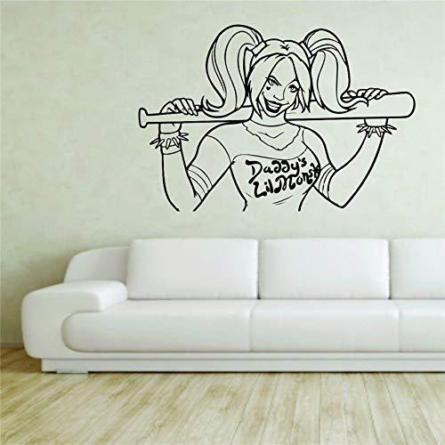 zhuziji Wandaufkleber Aufkleber Vinyl Dekor Harley Quinn Joker Suicide Squad Kunst Dekor Wohnkultur Wandtattoos Living Wall Stick 87x129cm