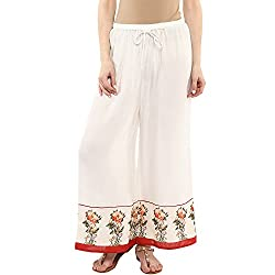 Bhama Couture Women White Palazzo with floral print at the bottom