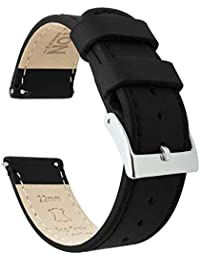 Barton Quick Release - Top Grain Leather Watch Band Strap - Choice of Colour & Width - 16mm, 18mm, 19mm, 20mm, 21mm 22mm, 23mm or 24mm - Black/Black 20mm