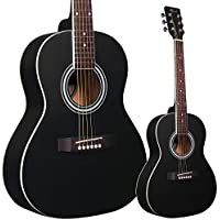 Lindo Traveller Black Matt 3/4 Size Acoustic Guitar with Gigbag, Clip-on Tuner, Strap and Spare Strings