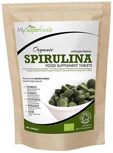 Bio Spirulina Tabletten (300 x 500mg Tablette) | MySuperFoods | Vollgepackt mit Protein, Kalzium und Vitaminen | Nährstoffreich | Höchste Qualität verfügbar | Zertifiziert von der Soil Association