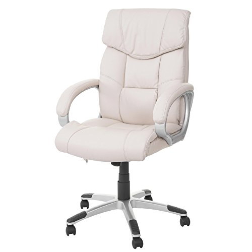 Mendler Massage-Bürostuhl HWC-A71, Drehstuhl Chefsessel, Heizfunktion Massagefunktion Kunstleder ~ Creme