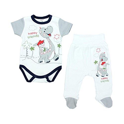 TupTam Unisex Baby Bekleidungsset mit Aufdruck 2 TLG, Farbe: Dino Grau, Größe: 56