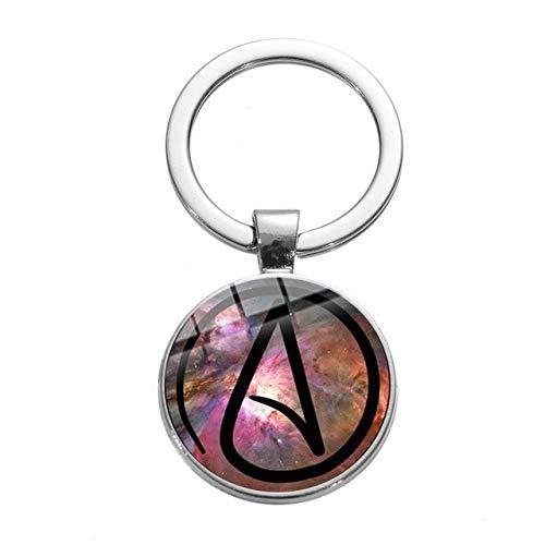 Inveroo Atheist Atom Symbol Minimalismus Schlüsselanhänger Kreative Atheismus Glas Bild Cabochon Auto Schlüsselanhänger Tasche Brieftasche Schmuck