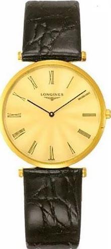 LONGINES Homme 32MM Bracelet Cuir Noir Quartz Cadran DORÉ Montre L4.709.2.41.2