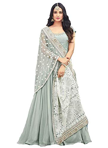 Monika Silk Mill Women\'s Latest Light Blue Embroidered Festival Collection Wedding Collection Party wear Anarkali Salwar Suit Dress materials