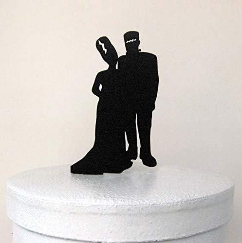 (Tortenaufsatz für Hochzeitstorten – Halloween, Hochzeitstorte, Frankenstein-Silhouette)