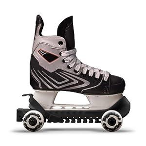 RollerGard Kufenschoner mit Rollen – Kufenschoner für Eishockey- & Schlittschuhe I Eishockeyschlittschuh-Schutz I Kufenzubehör I Schwarz – One Size