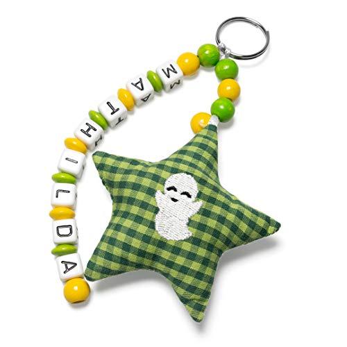 AngelicArt Namensanhänger/Namenskette/Schlüsselanhänger mit Namen, personalisiert, Verschiedene Modelle für Schultaschen, Kita-/Wickeltaschen für Babys und Kinder (grün, gelb, süßer Geist)