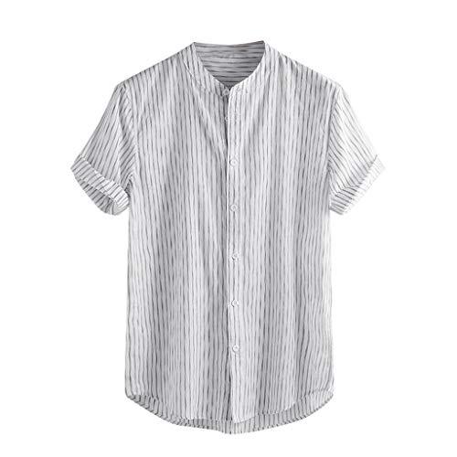 ZHANSANFM Leinenhemd Herren T-Shirt Täglichen Streifen Muster Shirt Basic Casual Henley Freizeithemd Button Down Kurzarm Tops Leinen Loose Fit Sommerhemd Atmungsaktives Bequem (S, Weiß) -