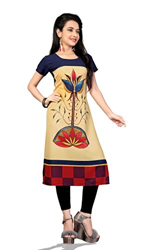 Globalia Creation Crepe Digital Printed Kurti(Party_178yj_Yellow_Free Size)