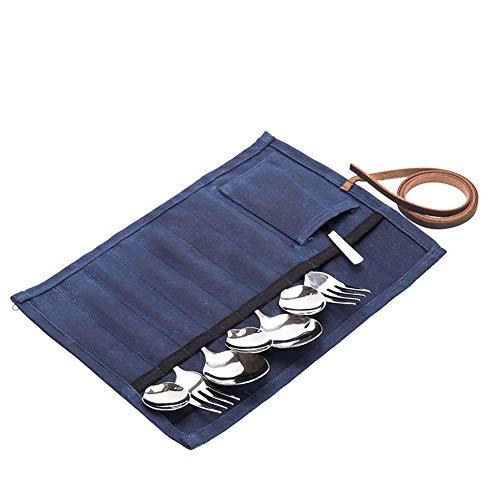 QEES borsa arrotolabile per utensili da campeggio, da cucina, da viaggio, portaposate, 12 scomparti, set di utensili da picnic, organizer per escursionismo, cucina, campeggio, barbecue all\'aperto