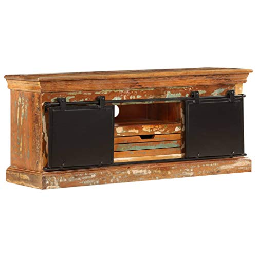 Nishore TV-Schrank | Vintage Fernsehtisch | TV Lowboard Tisch | Retro Fernsehschrank | Holz TV Board | Mit 3 Fächern und Einer Schublade 110 x 30 x 45 cm (B x T x H)