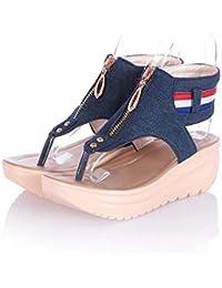 MHX Zapatos de Mujer New Sandals Zapatos de Oscilación para Mujer Beach Denim Clip Toe Sandals Cremallera Acolchada con Suela Gruesa (Color : Dark Blue, Tamaño : 34)