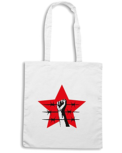 T-Shirtshock - Borsa Shopping TCO0155 stella rossa filo spinato Bianco