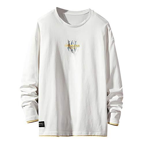 T-Shirt Tinta Unita Manica Lunga Uomo Tempo Libero a Manica Lunga Sportiva Camicia Unita Accogliente Maglietta Felpa Basic in Cotone Maniche Nuovo Prodotto per la Stagione Autunnale