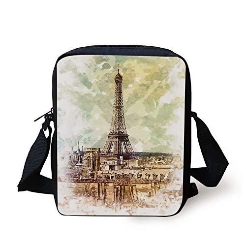 Eiffel Tower Decor,Pastel Watercolor Style Print Vintage Eiffel Tower Skyline Parisian Theme Artprint,Brown Beige Print Kids Crossbody Messenger Bag Purse