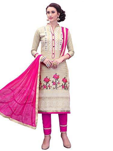 VARAYU Women's Cotton Satin Thread Embroidery and Khadi Printed Semi Stitched Salwar...