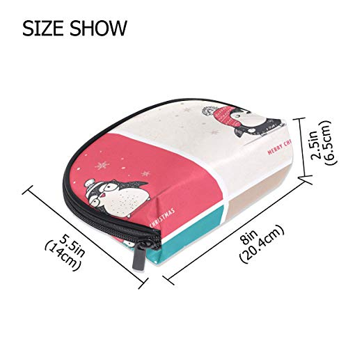 FANTAZIO Kosmetiktasche mit Reißverschluss, niedliche Pinguine mit Aufschrift