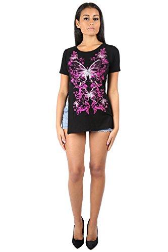 Women's Blumendruck Dimante Butterfly Love Cap Sleeve Seitenschlitz T Shirt Geblümt Schmetterling Schwarz