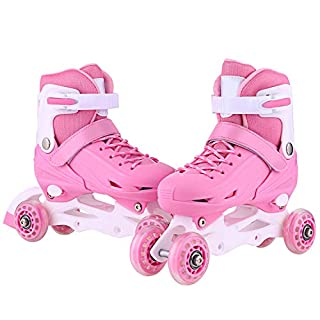 Ancheer Inline Roller Skates für Jungen Mädchen - Kinder Rollschuhe Einstellbare Größen Beleuchtung Räder Atmungsaktives Mesh Dreifachschutz Aluminium Rahmen Einstellbare