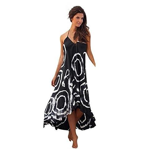 FEITONG Mode Cool Women Summer Imprimer Halter manches Cocktail Party Long Beach Dress (M)