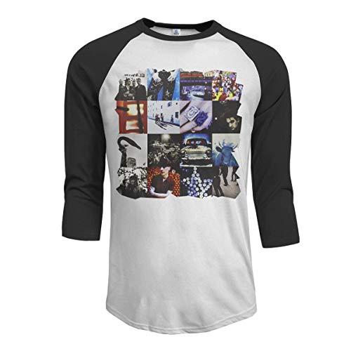 MarshallD U2 Achtung Baby Camiseta raglán béisbol con Manga 3/4 para Hombre, Negro 4XL