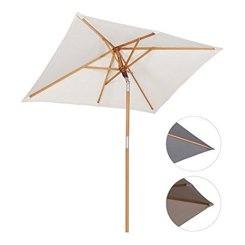 Sekey 200 × 150 cm ombrellone in legno ombrello parasole da esterno da giardino crema protezione solare uv50+