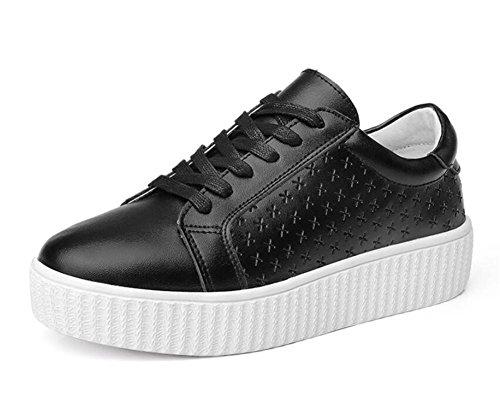LDMB Beiläufige kleine weiße Schuhe der Frauen Dicker Boden mit flachen Ferselederschuhen Black