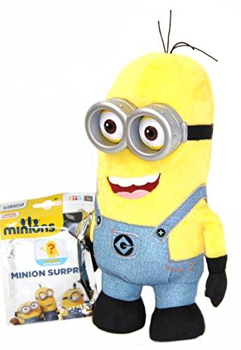 lüschfigur aus Minions Movie und Ich einfach unverbesserlich , ca. 28cm + Minion Suprise Pack (1 von 15 ohne Vorauswahl), minion Plüschtier (Minions Kevin)