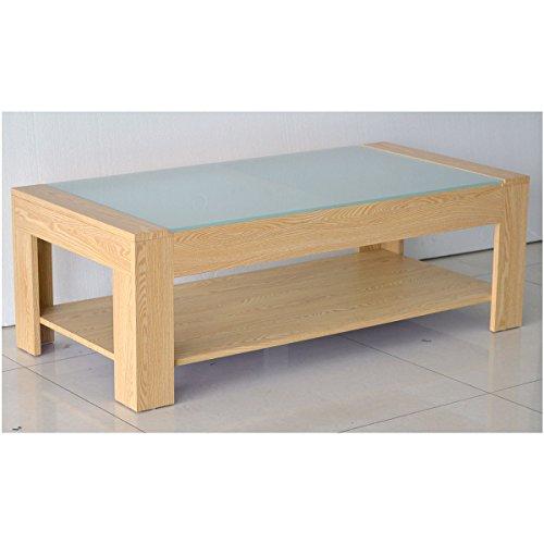 Table basse rectangulaire en bois et plateau en verre trempé