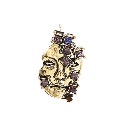 Richliruib: 1 pieza gótica máscara de diamantes de imitación incrustados para disfraz de fiesta joyería decoración pendientes – oro antiguo