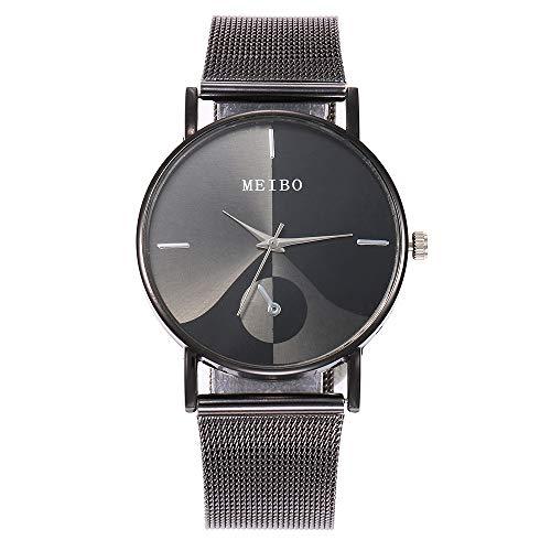 Clacce Unisex Armbanduhr Damen-Uhr Herren-Uhr, Analog Display, Quarzwerk, Kunst-Leder-Armband, Chronograph-Optik, mit Dornschließe