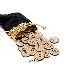 25 in legno Rune Stone set borsa con layout & significato pergamena (in Inglese)