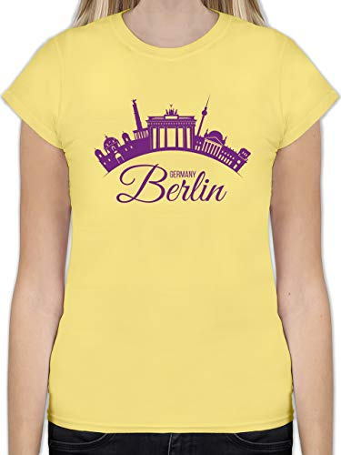 Skyline - Skyline Berlin Deutschland Germany - M - Lemon Gelb - L191 - Tailliertes Tshirt für Damen und Frauen T-Shirt