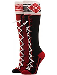 Official Licensed Ladies DC Comics Harley Quinn Lace Up Knee High Socks