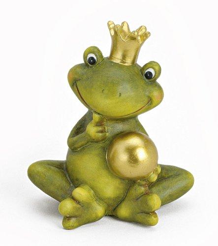Dekofigur Gartenfigur Frosch Froschkönig 15 cm groß aus Keramik grün mit Goldkugel golden, witzige Figur Märchenfrosch als Garten Deko in Stein Optik