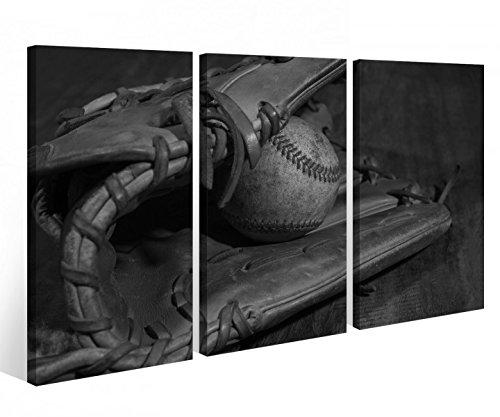 Leinwandbild 3 Tlg. Sport Baseball Ball Handschuh schwarz weiß Leinwand Bild Bilder Holz fertig gerahmt 9R825, 3 tlg BxH:90x60cm (3Stk 30x 60cm) (Leinwand Baseball)