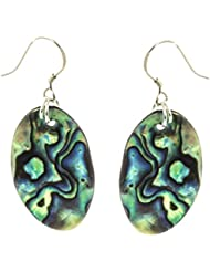black-yard Damen Ohrringe mit Abalone oval, 925 Sterling Silber