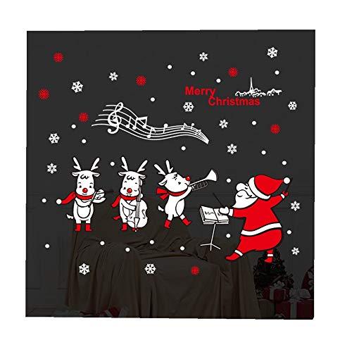 ODJOY-FAN Weihnachten Wand Aufkleber Abziehbild Entfernbar Wandaufkleber Wandgemälde Aufkleber Dekor Fenster Glas Wandtattoos Dekoration Hängende Verzierung 45x60cm(Multicolor,1PC)