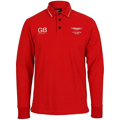 Hackett Aston Martin Racing, AMR Collar Detail Rugby Top Red Small