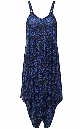 Islander Fashions Femmes Sans Manches Strappy Imprim Lagenlook Combi-short Combinaison Dames Fantaisie Cami Baggy Harem Combishort Robe S / 3XL Navy Aztec