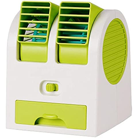 kokome Portable escritorio ventilador Mini USB Mini portátil aire acondicionado Mini ventilador refrigerador ajustable doble aire salidas de aire (Verde)