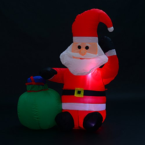 Papa Noel Inflable 70x45x120cm Luces LED + Bolsa Regalo Decoracion Navidad Santa