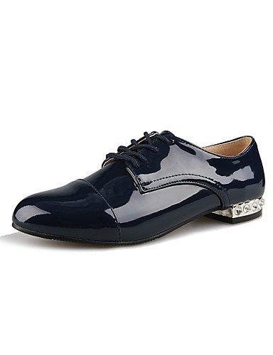WSS 2016 Chaussures Femme-Extérieure / Habillé / Décontracté-Noir / Bleu / Amande-Gros Talon-Talons / Bout Arrondi / Bout Fermé-Talons-Cuir Verni blue-us8 / eu39 / uk6 / cn39