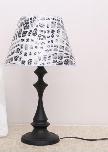 HYW Lámpara de Mesa de Estilo Europeo Moderna lámpara de mesita de Noche de Hierro Minimalista lámpara de mesilla de Noche lámpara de Sala de Estar Caliente,Interruptor de botón Estampado Leopardo