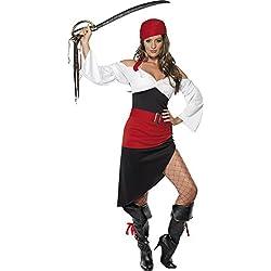 Smiffys Disfraz de moza pirata descarada con falda, top, cinturón y pañoleta para la cabeza