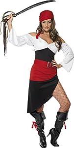 Smiffys-33356S Disfraz de moza Pirata descarada con Falda, Top, cinturón y pañoleta para la Cabeza, Color Negro, S-EU Tamaño 36-38 (33356S)