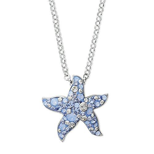 Noelani Damen-Kette mit Anhänger Seestern Sommer Swarovski Kristalle Messing rhodiniert Kristall blau 60 cm - 9289288