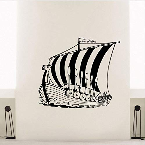 Zybnb Wohnkultur Vinyl Aufkleber Alte Wikinger Schiff Wandtattoo Poster Meer Ozean Stil Wand KunstWandvinylAufkleber Für Wände57X50Cm